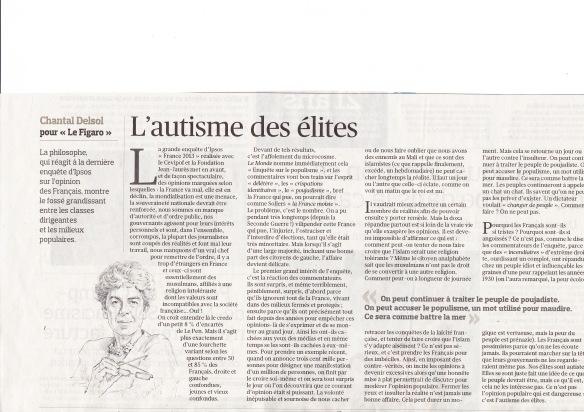 Tribune de Chantal Delsol dans le Figaro