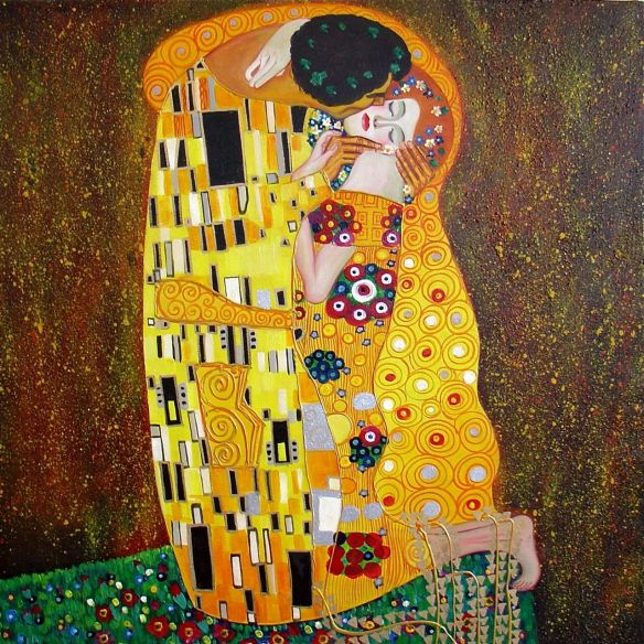 peinture-klimt-gustav-le-baiser-tableaux-jean-jacques-rio-galerie-art-decoration-auray-attention-a-la-peinture